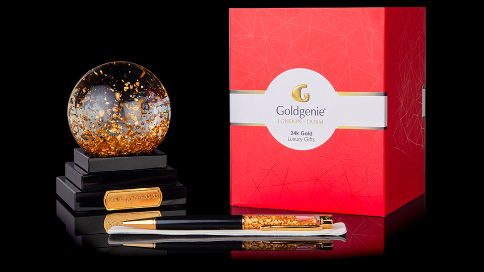 24k gold crystal ball and pen